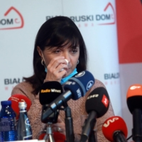 Natalia Protasevich, the mother of dissident Belarusian journalist Roman Protasevich, gives a news conference in Warsaw on Thursday.  | AGENCJA GAZETA / VIA REUTERS