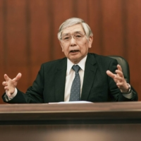 Bank of Japan Gov. Haruhiko Kuroda speaks during an interview at the central bank's headquarters in Tokyo on Thursday. | BLOOMBERG