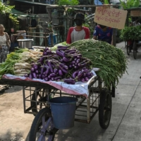 A man pushes a cart with vegetables for distribution during a donation drive aimed at helping low income households in Yangon, Myanmar, on April 6.  | AFP-JIJI