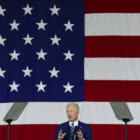 U.S. President Joe Biden delivers remarks to service members at Joint Base Langley-Eustis in Hampton, Virginia, on Friday.  | KENNY HOLSTON/THE NEW YORK TIMES