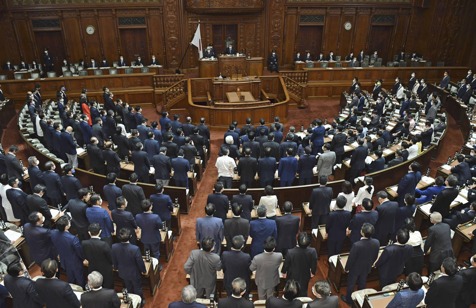 The House of Representatives passes a bill to regulate the use of land lots deemed important to national security at a plenary session on Tuesday. | KYODO