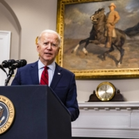 U.S. President Joe Biden speaks at the White House in Washington on Feb. 27. Biden's team has embraced the new economics with fiscal proposals designed to combat inequality. | SAMUEL CORUM / THE NEW YORK TIMES