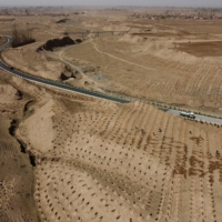 Workers water recently planted trees outside a village on the outskirts of Wuwei. | REUTERS