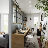 A rendering of a semi-private workspace being offered in homes built by Daiwa House Industry Co., targeting the growing number of remote workers.  | COURTESY OF DAIWA HOUSE INDUSTRY CO.
