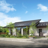 An exterior image of one-story homes being offered by Panasonic Homes Co. The residences are being marketed as adapting to the so-called new normal, allowing residents plenty of space to cook, work and mingle with family, according to the company..  | COURTESY OF PANASONIC HOMES CO.