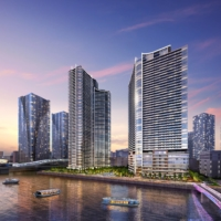 The Grand Marina Tokyo is a three-tower project being developed by Mitsui Fudosan Residential Co. in Kachidoki, a bayside area in central Tokyo. | COURTESY OF MITSUI FUDOSAN RESIDENTIAL CO.