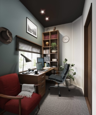 A rendering of a private workspace being offered in homes built by Daiwa House Industry Co., targeting the growing number of remote workers. | COURTESY OF DAIWA HOUSE INDUSTRY CO.