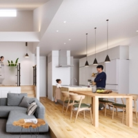 """An example of a living room in the """"Casart"""" lineup of one-story houses being offered by Panasonic Homes Co. The homes are being marketed as adapting to the so-called new normal, allowing residents plenty of space to cook, work and mingle with family, according to the company."""