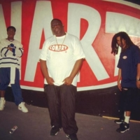 The Conart store in California attracted many famous guests. Here, Ash Hudson (right) is pictured with rappers Craig Mack (left) and The Notorious B.I.G. (center).  |