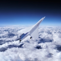 An artist rendering shows a Boom Supersonic airplane with the United Airlines logo.   BOOM SUPERSONIC / VIA AFP-JIJI