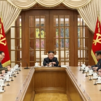 North Korean leader Kim Jong Un presides over the first meeting of Political Bureau of  8th Central Committee of the Workers' Party of Korea in Pyongyang in this photo released on Saturday.  | KCNA / VIA REUTERS