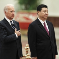 Then-U.S. Vice President Joe Biden and then-Chinese Vice President Xi Jinping during a welcome ceremony at Beijing's Great Hall of the People in August 2011.   POOL / VIA REUTERS