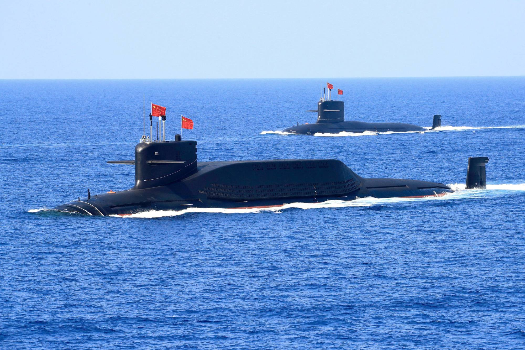 A nuclear-powered Type 094A Jin-class ballistic missile submarine of the Chinese People's Liberation Army Navy in the South China Sea in April 2018   REUTERS