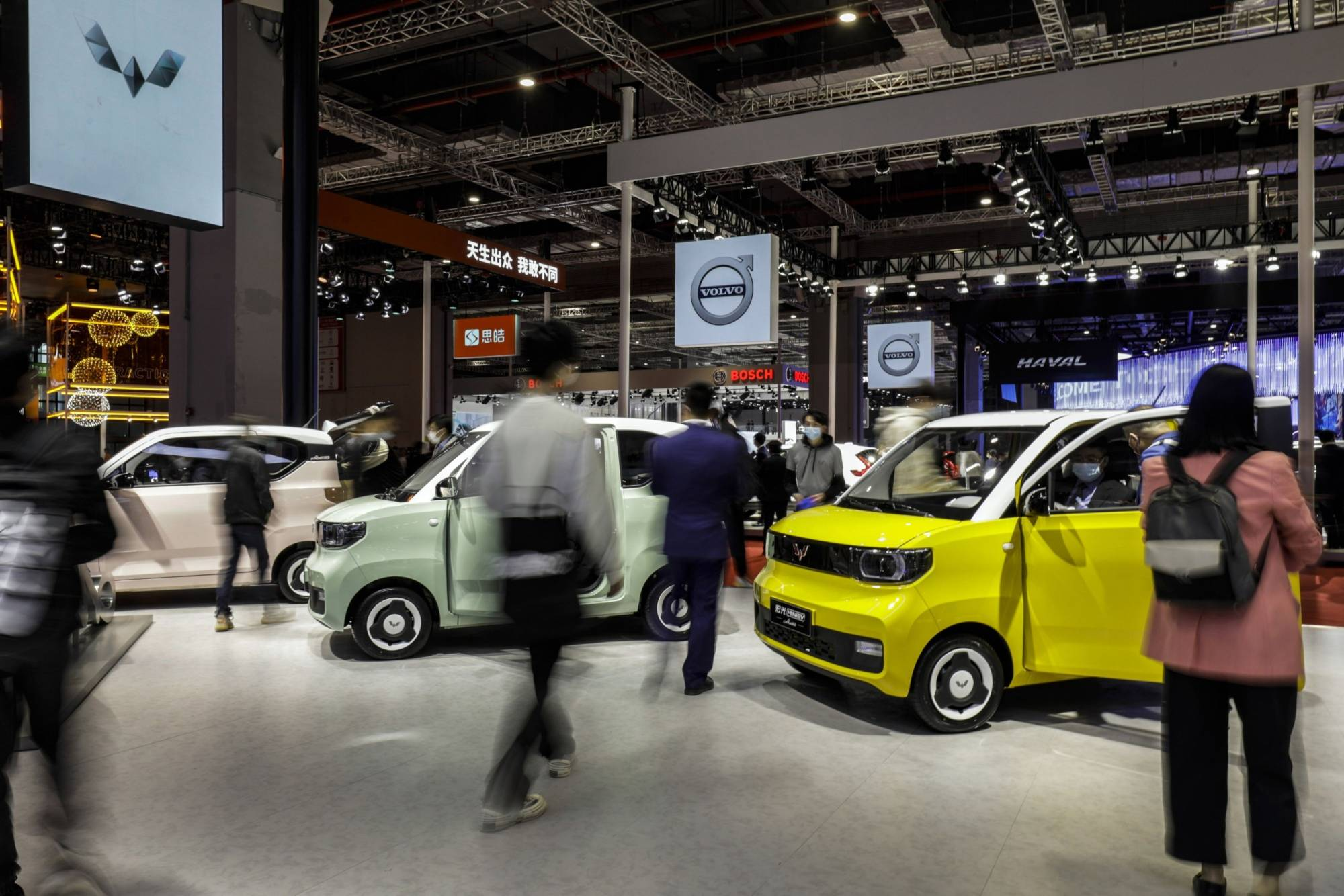 Wuling Hongguang Mini electric vehicles at the Shanghai Auto Show in April | BLOOMBERG