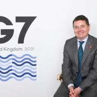 Paschal Donohoe, Ireland's finance minister, on the second day of the G7 finance ministers meeting in London on Saturday | POOL / VIA AFP-JIJI