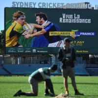 A display screen at Sydney Cricket Ground promotes an upcoming rugby union test between Australia and France on May 17. | AFP-JIJI
