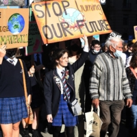 Students march during a rally calling for climate action in Melbourne on May 21.  | AFP-JIJI