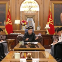 North Korean leader Kim Jong Un at a meeting with senior Workers' Party of Korea officials in an undated photo released Tuesday   KCNA / VIA REUTERS