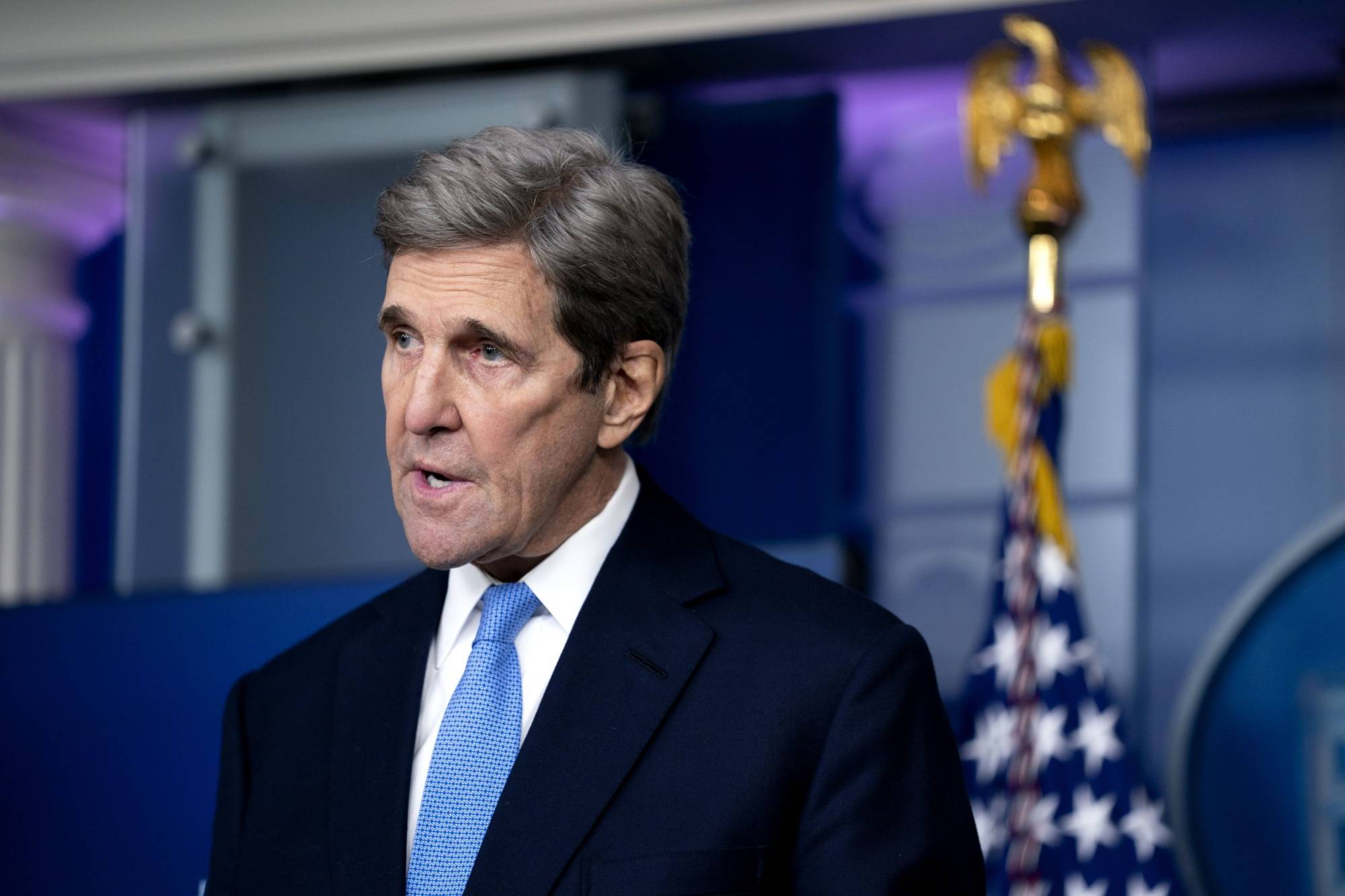 John Kerry, special envoy for climate in the administration of U.S. President Joe Biden, speaks during a news conference at the White House in January.  | BLOOMBERG