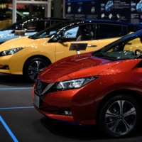 Nissan Leaf electric vehicles. The model, first introduced in 2010, is the only passenger EV in production that offers what is known as vehicle-to-grid capability.   BLOOMBERG