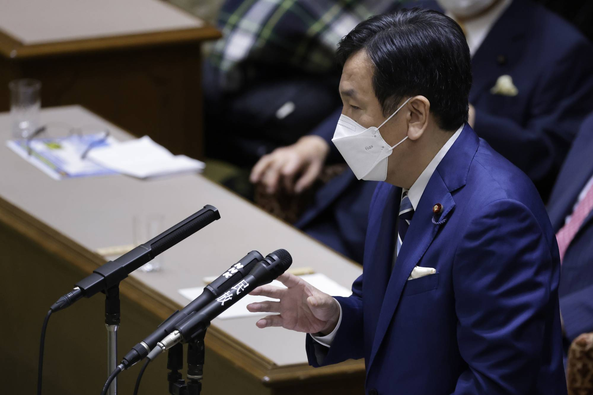 Yukio Edano, head of the Constitutional Democratic Party of Japan, speaks during a party leaders debate at the Upper House on Wednesday.   BLOOMBERG