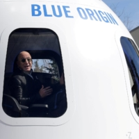 Amazon and Blue Origin founder Jeff Bezos addresses the media about the New Shepard rocket booster and Crew Capsule mockup in Colorado Springs, Colorado, in April 2017. | REUTERS