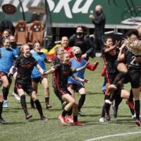 The Thorns celebrate after defeating Gotham FC in a penalty shootout during the NWSL Challenge Cup in Portland, Oregon, on May 8. | USA TODAY / VIA REUTERS