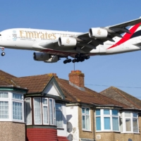 An Airbus A380 aircraft operated by Emirates approaches London's Heathrow Airport.  | AFP-JIJI