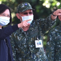 Taiwan President Tsai Ing-wen oversees a military emergency drill in Tainan, Taiwan, in January. | REUTERS