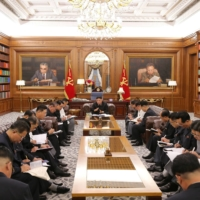 North Korean leader Kim Jong Un at a meeting with senior officials from the Workers' Party of Korea in Pyongyang | KCNA / VIA REUTERS
