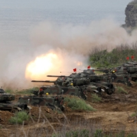 M60A3 tanks fire off shells during the annual Han Kuang military drill in Penghu, Taiwan, in May 2017. | REUTERS