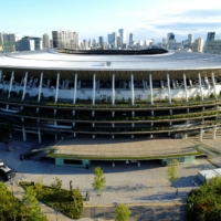 The National Stadium in Tokyo on Thursday. An intensifying clash between the central government and its own advisers over attendance restrictions during the Tokyo Games is hounding organizers.   REUTERS