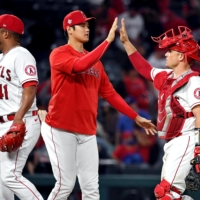 Los Angeles Angels designated hitter Shohei Ohtani (17) celebrates after beating the Detroit Tigers at Angel Stadium on Friday.  | USA TODAY SPORTS / VIA REUTERS