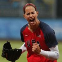 Starting pitcher Cat Osterman of the U.S. reacts after striking out a Japan batter in the first inning of their gold medal softball game at the Beijing 2008 Olympic Games in August 2008.       REUTERS