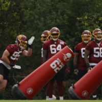Members of the Washington Football Team take part in defensive drills during a minicamp in Ashburn, Virginia, on June 10. | USA TODAY / VIA REUTERS