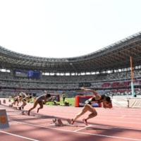 A track and field test event for the Tokyo Olympics is held without spectators at the National Stadium in Tokyo in May. | KYODO
