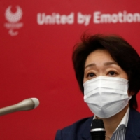 Tokyo Organising Committee President Seiko Hashimoto speaks at a news conference in Tokyo on Wednesday. | POOL / VIA AFP-JIJI