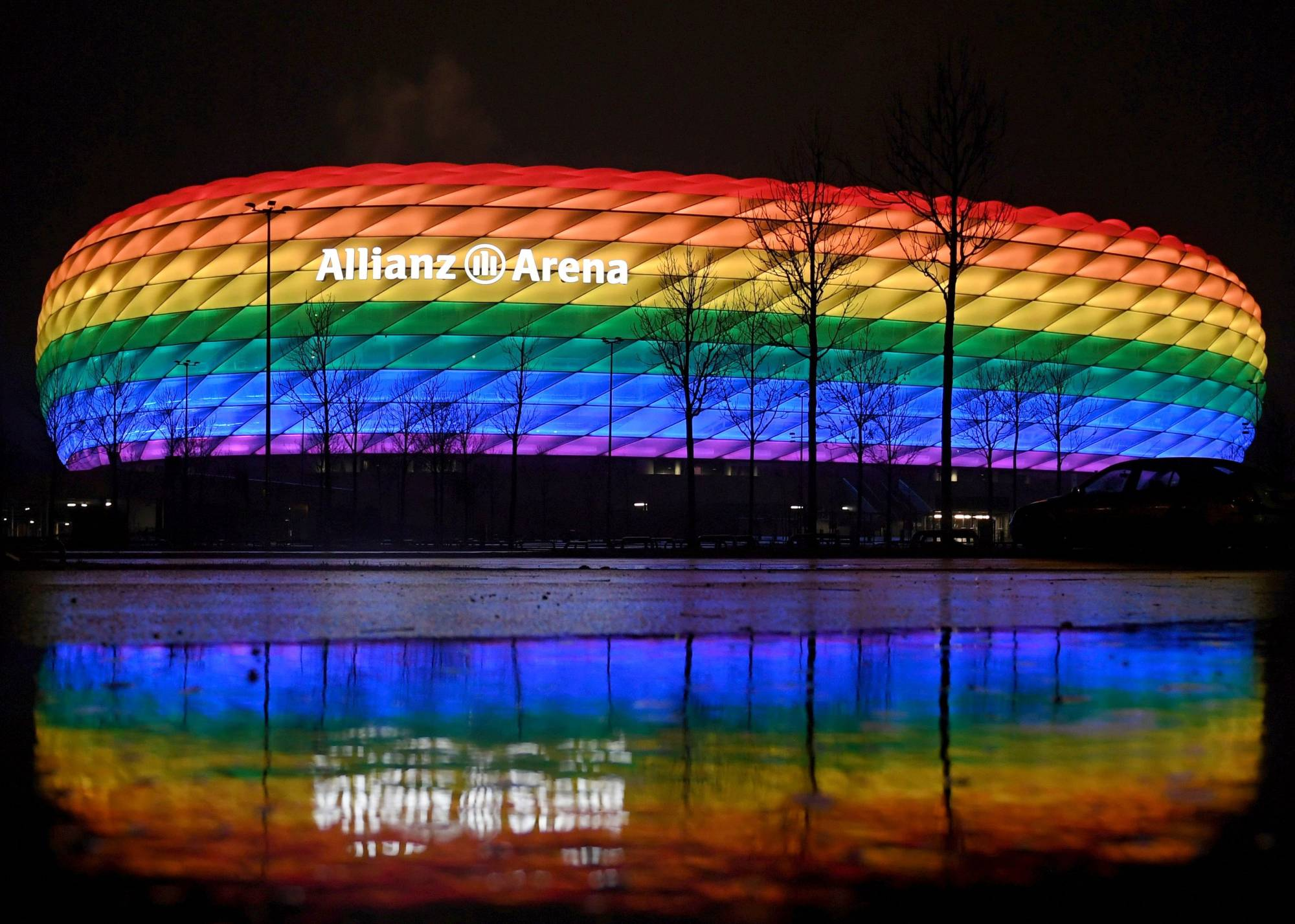German officials had applied to light up Munich's Allianz Arena in rainbow colors before the team's Euro 2020 match against Hungary. | REUTERS