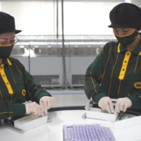 Yamato Transport Co. workers pack vials containing COVID-19 vaccine for delivery at the company's distribution center in the city of Toyota, Aichi Prefecture. | YAMATO TRANSPORT CO. / VIA CHUNICHI SHIMBUN
