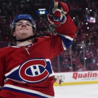 The Canadiens' Cole Caufield celebrates after scoring against the Golden Knights during the second period on Thursday in Montreal. | USA TODAY / VIA REUTERS