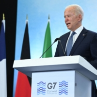 U.S. President Joe Biden takes part in a news conference on the final day of the Group of Seven summit at Cornwall Airport Newquay in England on June 13.   AFP-JIJI