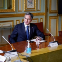 U.S. Secretary of State Antony Blinken attends a meeting with French President Emmanuel Macron at the Elysee Palace in Paris on Friday.  | POOL / VIA REUTERS