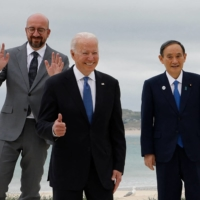 U.S. President Joe Biden and Prime Minister Yoshihide Suga at the G7 summit in England earlier this month.  | AFP-JIJI