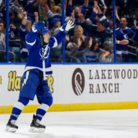 Tampa Bay Lightning center Yanni Gourde celebrates his second period goal against the New York Islanders in Game 7 of the Stanley Cup Semifinals at Amalie Arena.     UNITED STATES TODAY / VIA REUTERS