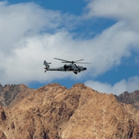An Indian Air Force Apache helicopter in the Ladakh region of India in September 2020 | REUTERS