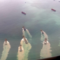 The actions of Chinese sand-dredging vessels and other ships around areas controlled by Taiwan have raised tensions in recent years. | AYA LIU / VIA REUTERS