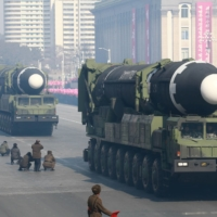 Intercontinental ballistic missiles are seen during a North Korean military parade celebrating the 70th anniversary of the founding of the Korean People's Army, in Pyongyang's Kim Il Sung Square in February 2018. | KCNA / VIA REUTERS