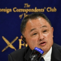 Yasuhiro Yamashita, president of the Japanese Olympic Committee, speaks during a news conference at the Foreign Correspondents' Club of Japan in Tokyo on Monday.   AFP-JIJI