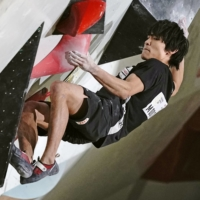 Tomoa Narasaki gets some good shots for his Instagram feed when he's climbing. | KYODO