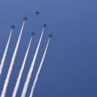 Japan's aerobatics team, the Blue Impulse, during a practice run Wednesday for the opening ceremony | REUTERS